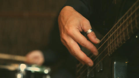 Bass Guitar Player stock footage