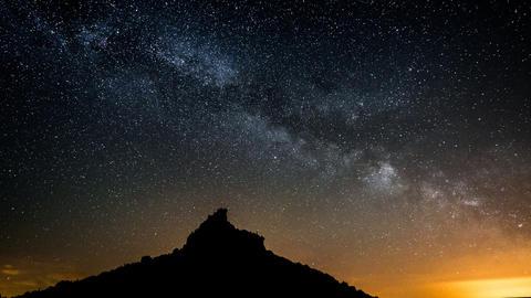 Milky Way Over Table Mountain Pan Tilt 11366 stock footage