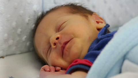 Newborn Making Funny Face Sleeping stock footage