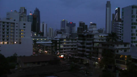 Sunset in the city. Falling in the night Stock Video Footage