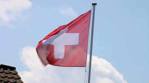 Swiss Flag stock footage