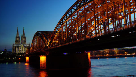Germany Cologne Cathedral and bridge, time lapse Stock Video Footage