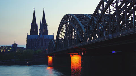 Germany Cologne Cathedral and bridge, time lapse, Stock Video Footage