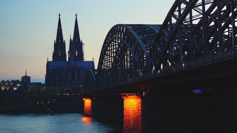 Germany Cologne Cathedral and bridge, time lapse,  Footage