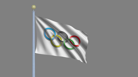 Olympic flag waving in the wind Stock Video Footage
