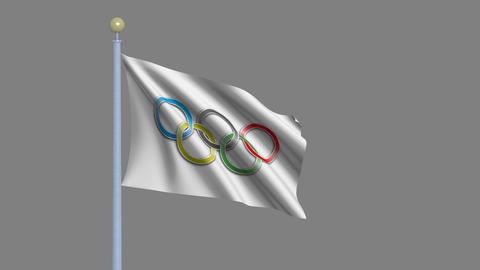 Olympic Flag Waving In The Wind stock footage