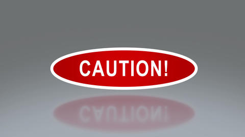 oval signage of caution Animation