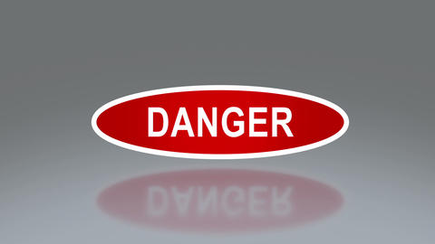 oval signage of danger Stock Video Footage
