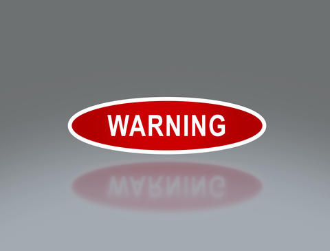 oval signage of warning 4 K Animation