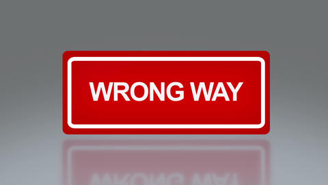 rectangle signage of wrong way Stock Video Footage