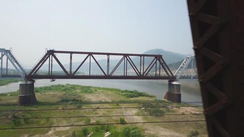 Train Transsib Zabaikalie 15 Selenga bridge Stock Video Footage