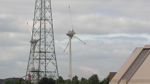 Wind Turbine and Power Pole Footage