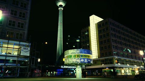 World clock in Alexanderplatz,Time lapse,4k Live Action
