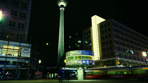 World clock in Alexanderplatz,Time lapse,4k Stock Video Footage