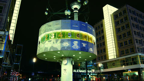 World clock in Alexanderplatz,Time lapse,4k Footage