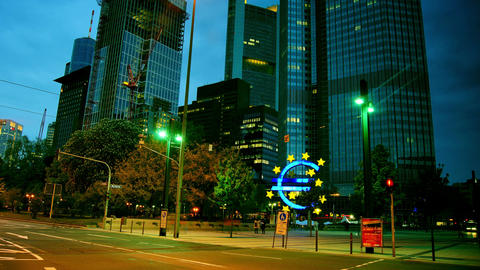 View Of Frankfurt, With Traffic Light And Skyscrap stock footage