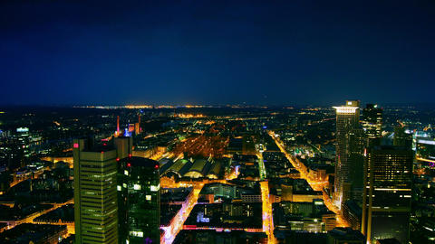 view of Frankfurt, with traffic light and skyscrap Stock Video Footage