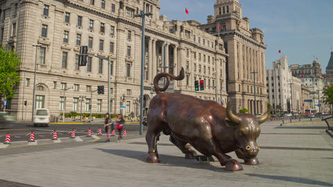 Bund Financial Bull hyperlapse Stock Video Footage