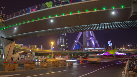 Shanghai night traffic timelapse Footage