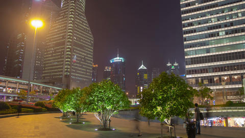 Pudong night walk hyperlapse 4 Stock Video Footage