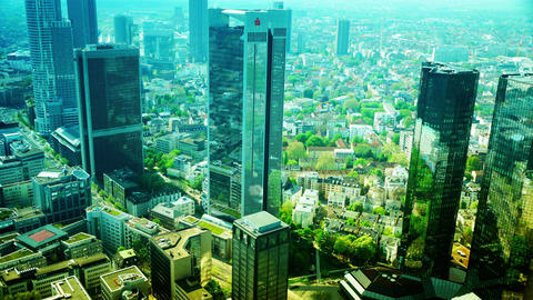 High-rise bank buildings on in Frankfurt am Main Footage