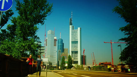 High-rise bank buildings on in Frankfurt am Main Stock Video Footage