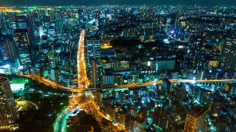 Cityscape Time Lapse from of Tokyo from above Stock Video Footage