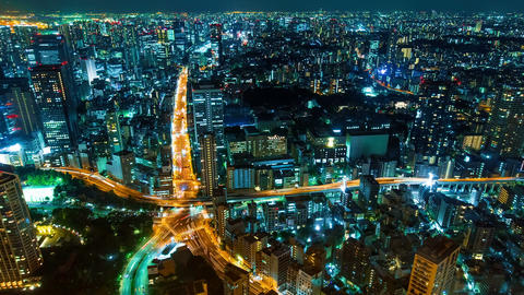 Cityscape Time Lapse from of Tokyo from above Footage