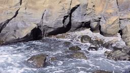 Rocky ocean shoreline Stock Video Footage