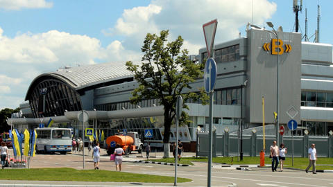 building of the Boryspil International Airport Stock Video Footage