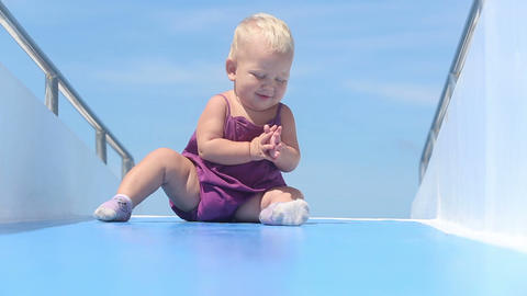 baby claps ship ocean Footage