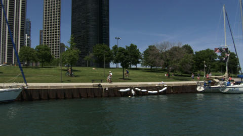 People Walking On The Lake Shore In Chicago stock footage