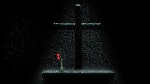 Cross and flower in the rain CG動画素材
