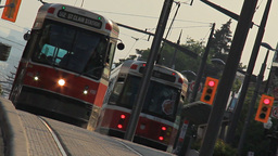 Streetcars Toronto St. Clair Footage