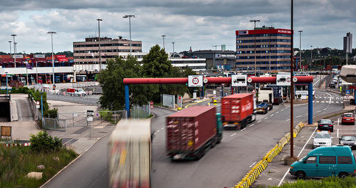 Lots Of Trucks At A Toll Station, 4K Stock Video Footage