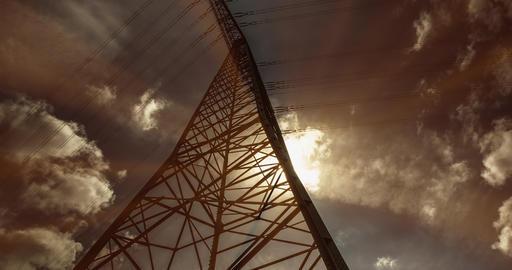 Electric Pole In Sunlight, Timelapse, 4K Footage