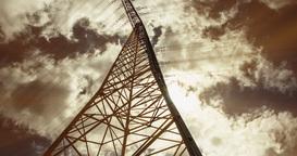 Electric Pole In Sunlight, Timelapse, 4K Stock Video Footage