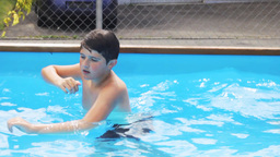 Children Swimming In The Pool stock footage