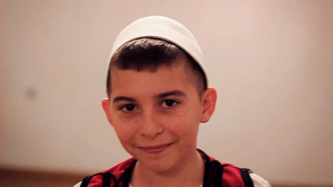 Boy In Traditional Albanian Costume stock footage