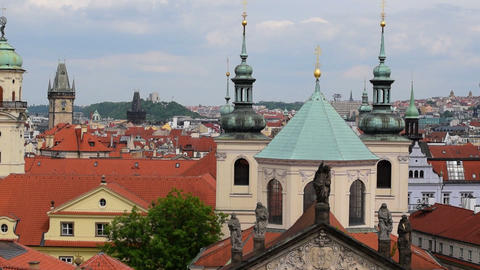 pan over historic roofs and towers of prague 11375 Footage