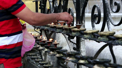 Man praying in a Swayambhunath Stupa on April 5, 2 Stock Video Footage