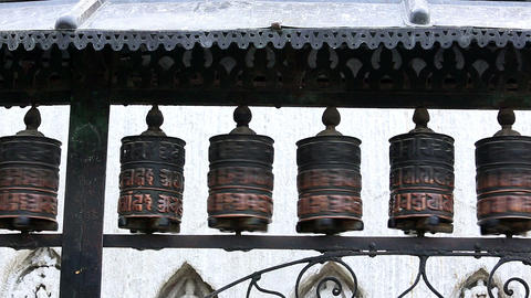 Buddhist prayer wheels. Swayambhunath Stupa, Kathm Footage