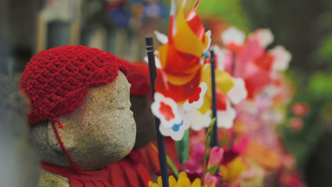 Buddhist Ojizo statues at in Tokyo Japan Stock Video Footage