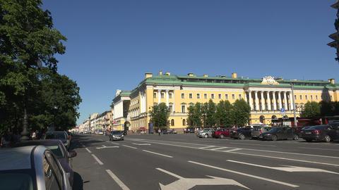Admiralteisky Avenue in St. Petersburg. 4K Stock Video Footage