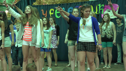 Teens Dancing On Stage.Saint-Petersburg. 4K stock footage