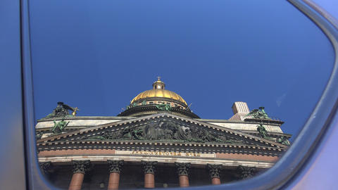 St. isaac's cathedral. The reflection in the glass Stock Video Footage