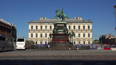 Monument to Emperor Nicholas I. St. Petersburg. 4K Stock Video Footage