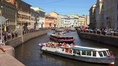 The Moika river embankment. Saint-Petersburg. 4K Footage