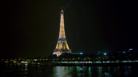 Eiffel Tower in Paris night lights , time lapse Stock Video Footage