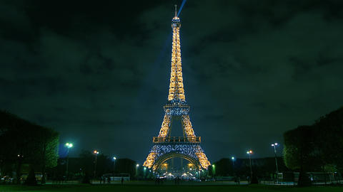 Eiffel Tower in Paris night lights , time lapse Footage